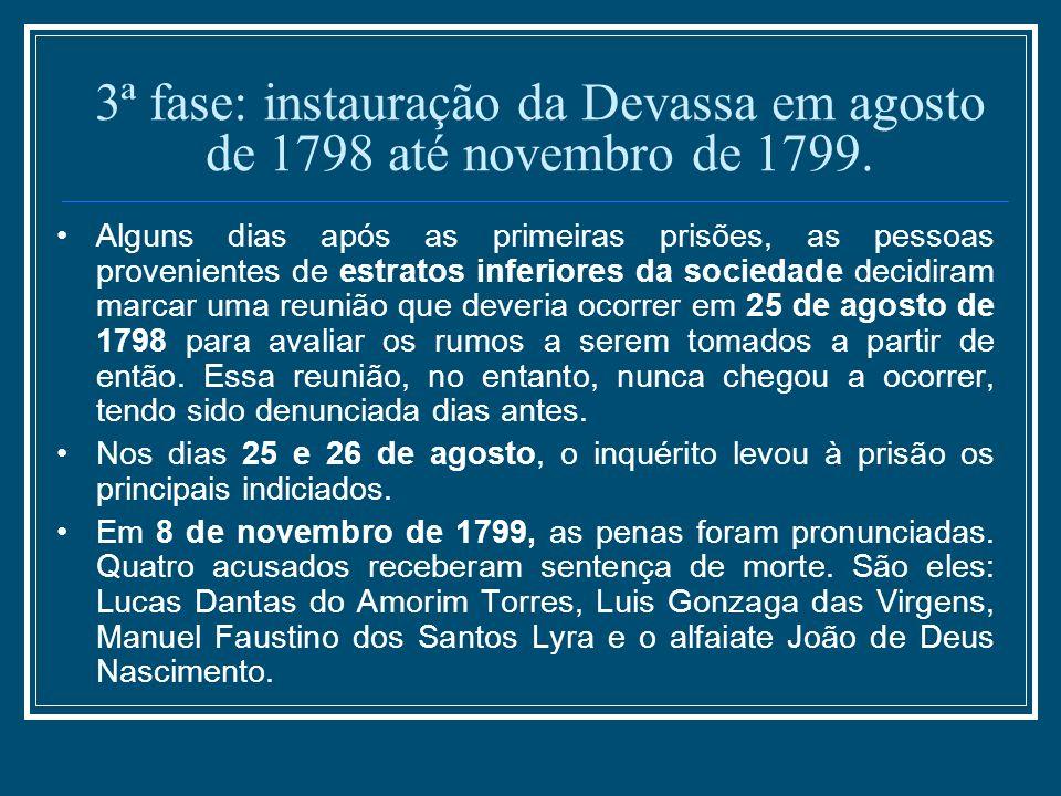 3ª fase: instauração da Devassa em agosto de 1798 até novembro de 1799. Alguns dias após as primeiras prisões, as pessoas provenientes de estratos inf