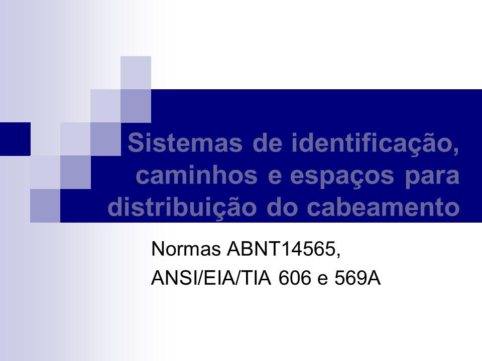 Sistemas de identificação A identificação tem que registrar a ligação entre os componentes de um sistema de cabeamento; A identificação tem que ser única para permitir que de qualquer ponto da instalação o cabeamento seja identificado; A identificação da tomada é a mesma do cabo que é a mesma da porta do patch panel