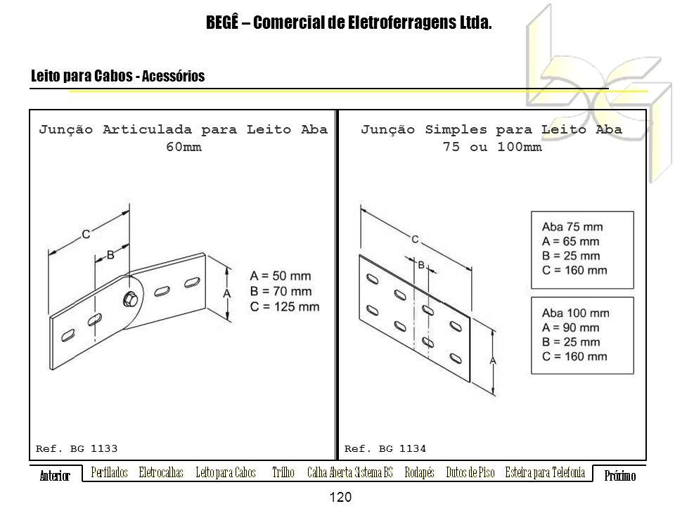 Junção Articulada para Leito Aba 60mm BEGÊ – Comercial de Eletroferragens Ltda.