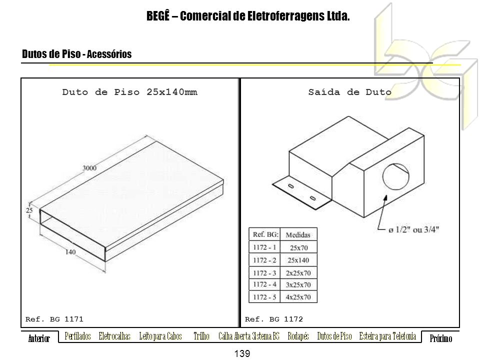 Duto de Piso 25x140mm BEGÊ – Comercial de Eletroferragens Ltda.