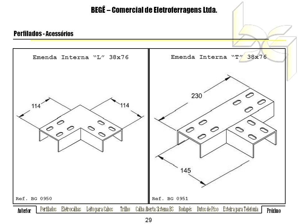 Emenda Interna L 38x76 BEGÊ – Comercial de Eletroferragens Ltda.