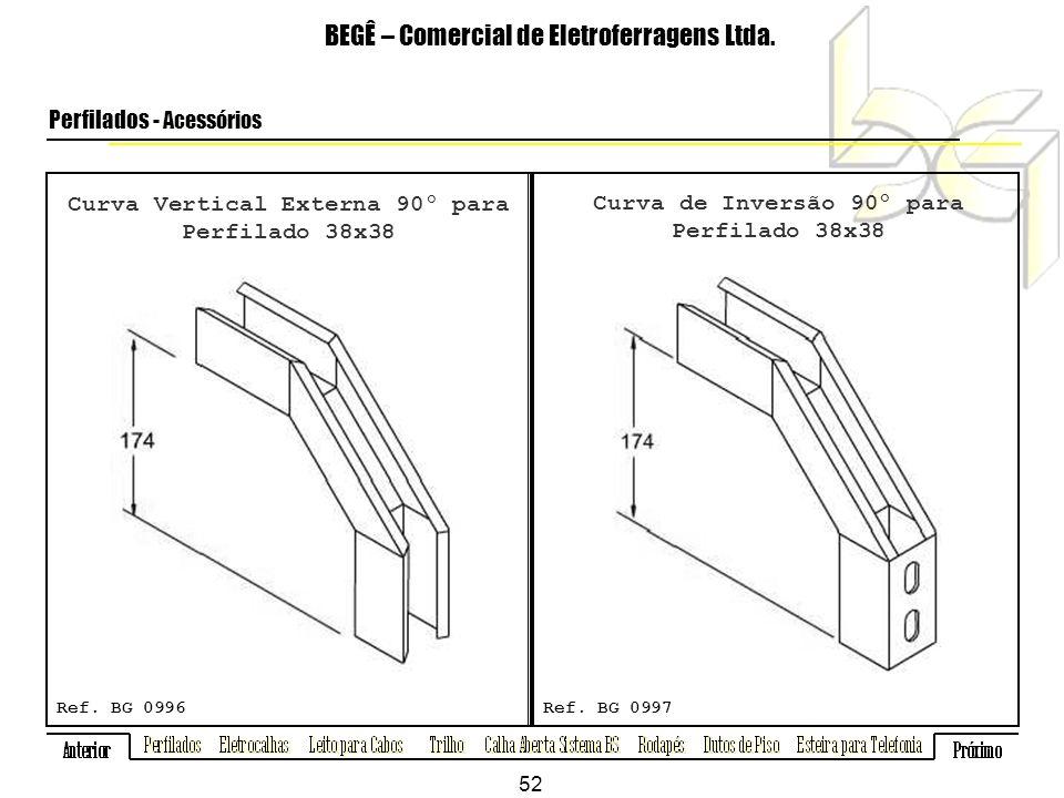 Curva Vertical Externa 90º para Perfilado 38x38 BEGÊ – Comercial de Eletroferragens Ltda.