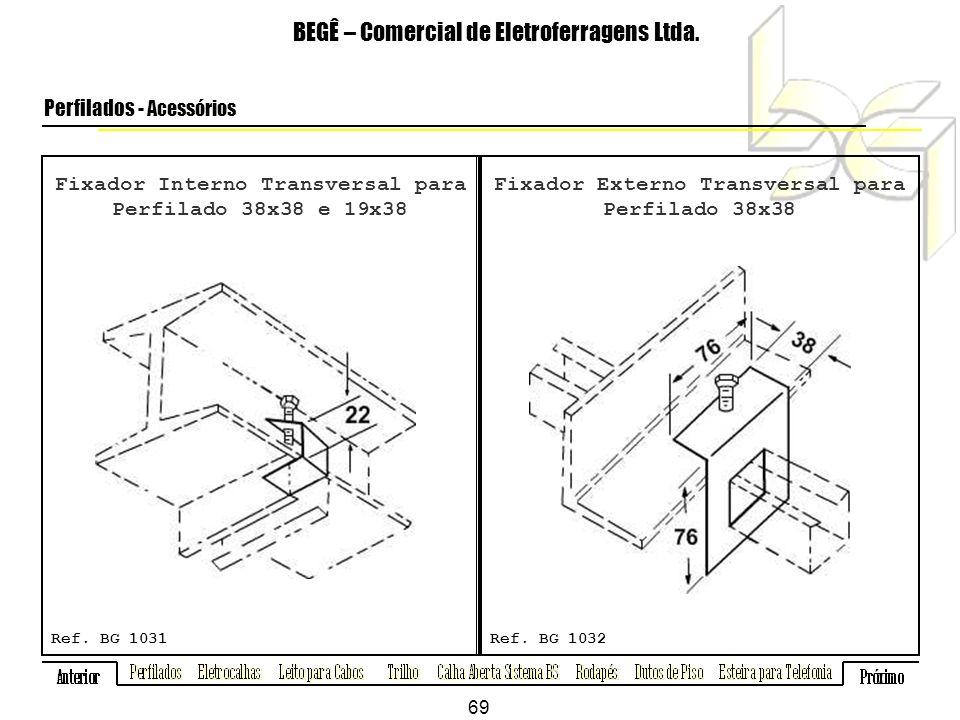 Fixador Interno Transversal para Perfilado 38x38 e 19x38 BEGÊ – Comercial de Eletroferragens Ltda.