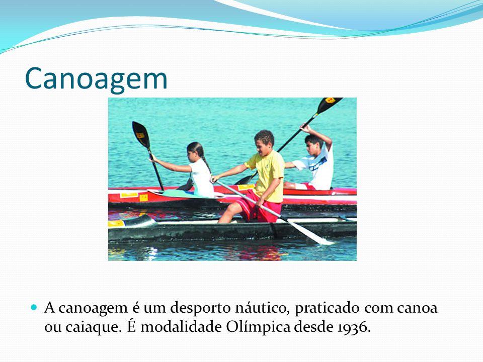 Canoagem A canoagem é um desporto náutico, praticado com canoa ou caiaque. É modalidade Olímpica desde 1936.