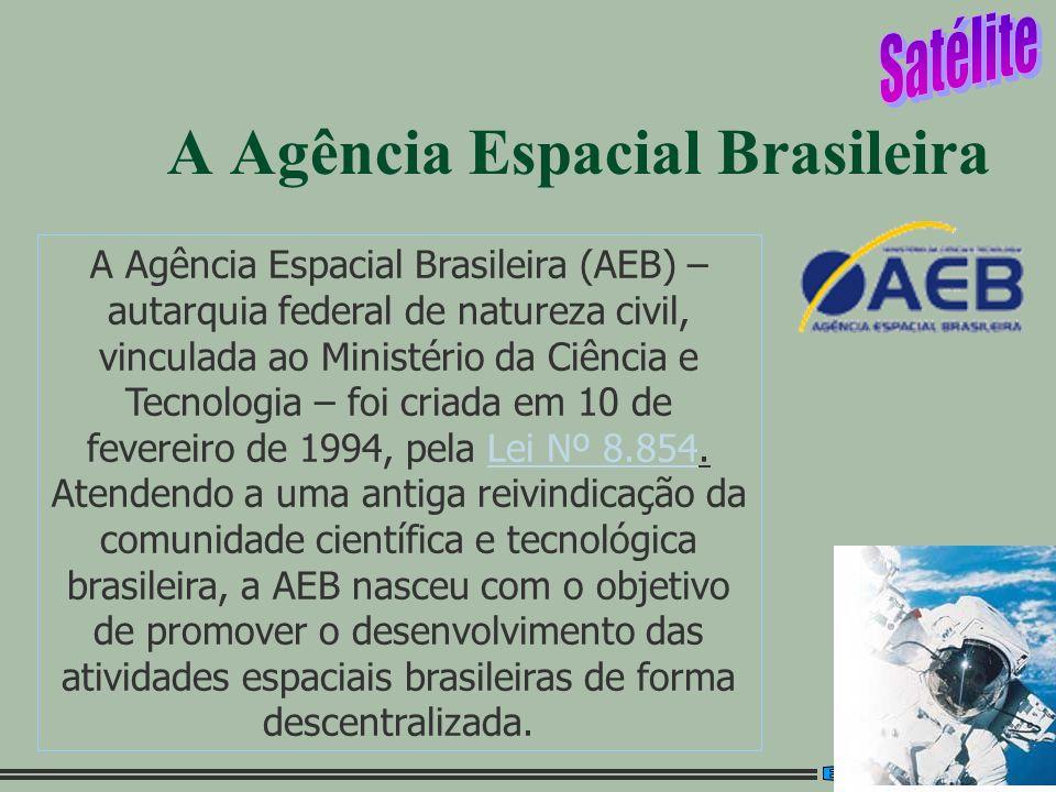 1 A Agência Espacial Brasileira A Agência Espacial Brasileira (AEB) – autarquia federal de natureza civil, vinculada ao Ministério da Ciência e Tecnol