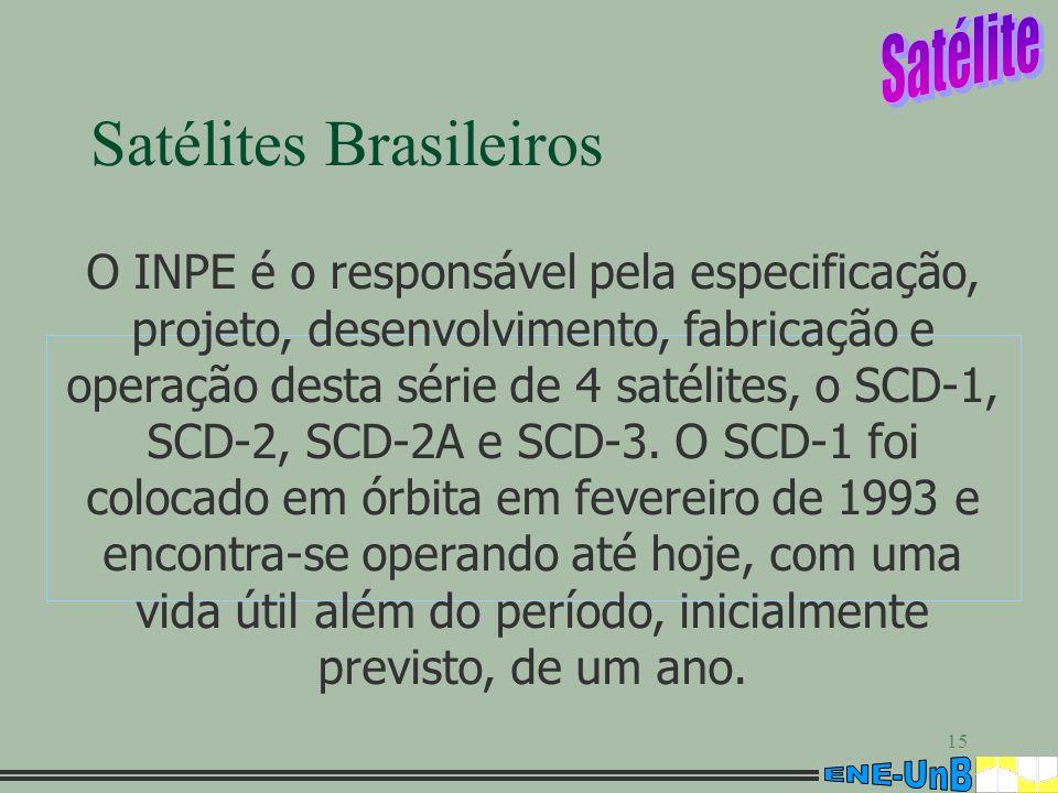15 Satélites Brasileiros O INPE é o responsável pela especificação, projeto, desenvolvimento, fabricação e operação desta série de 4 satélites, o SCD-