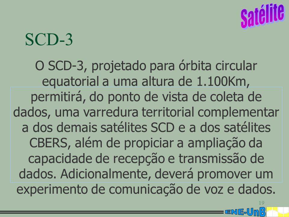 19 SCD-3 O SCD-3, projetado para órbita circular equatorial a uma altura de 1.100Km, permitirá, do ponto de vista de coleta de dados, uma varredura te