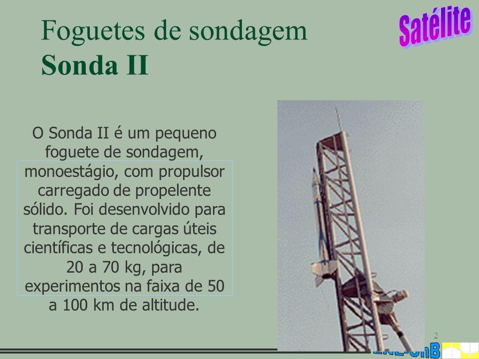 2 Foguetes de sondagem Sonda II O Sonda II é um pequeno foguete de sondagem, monoestágio, com propulsor carregado de propelente sólido. Foi desenvolvi