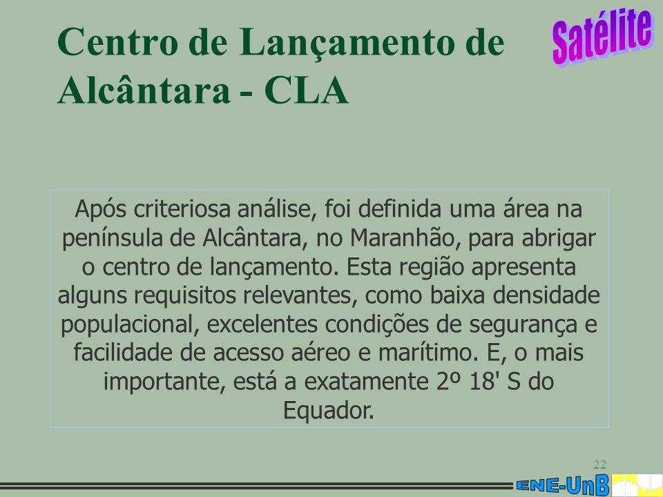 22 Centro de Lançamento de Alcântara - CLA Após criteriosa análise, foi definida uma área na península de Alcântara, no Maranhão, para abrigar o centr