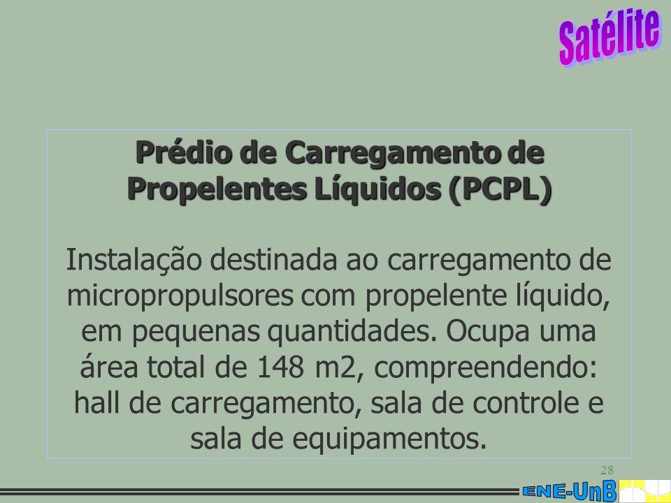 28 Prédio de Carregamento de Propelentes Líquidos (PCPL) Instalação destinada ao carregamento de micropropulsores com propelente líquido, em pequenas