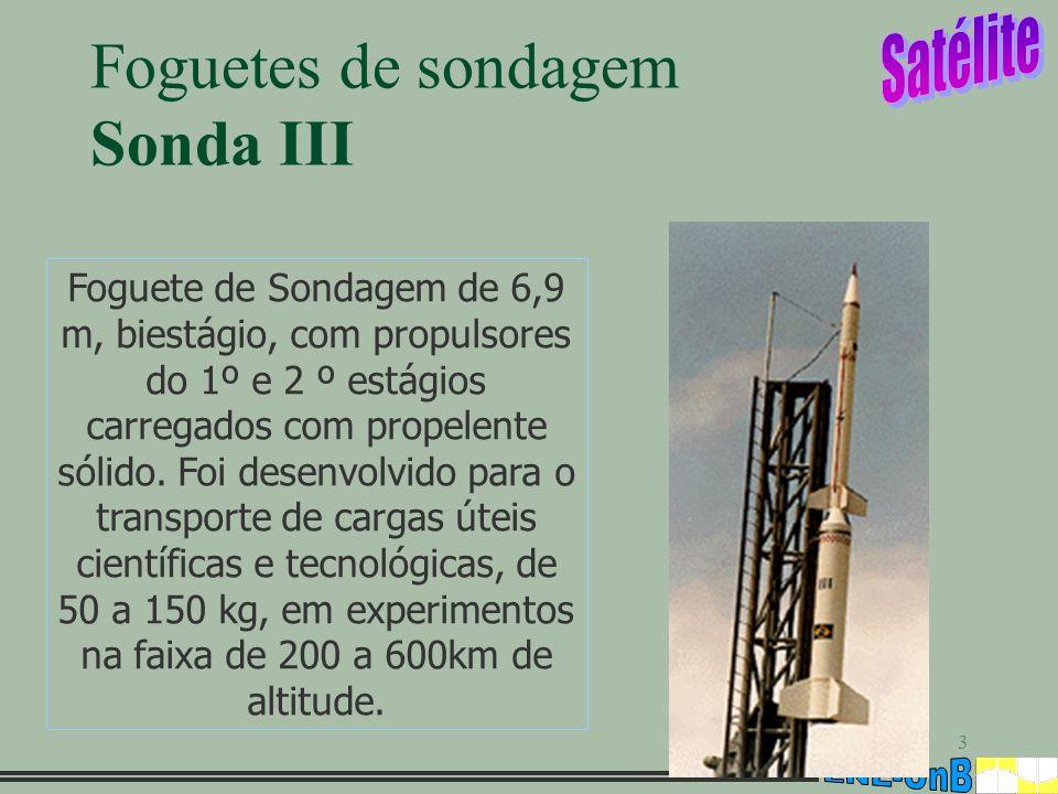 3 Foguetes de sondagem Sonda III Foguete de Sondagem de 6,9 m, biestágio, com propulsores do 1º e 2 º estágios carregados com propelente sólido. Foi d