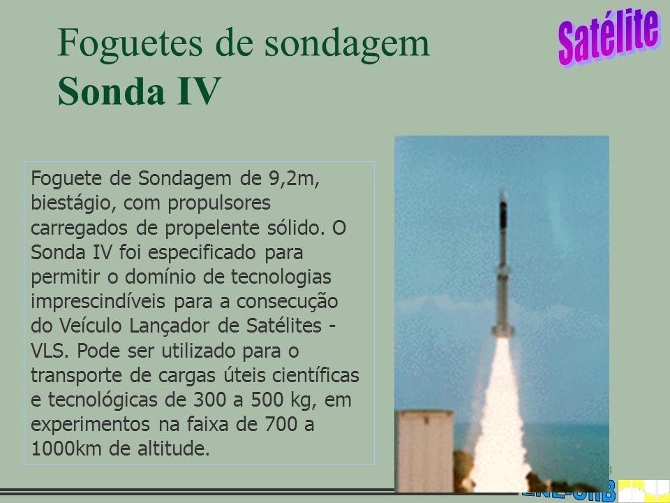 4 Foguetes de sondagem Sonda IV Foguete de Sondagem de 9,2m, biestágio, com propulsores carregados de propelente sólido. O Sonda IV foi especificado p
