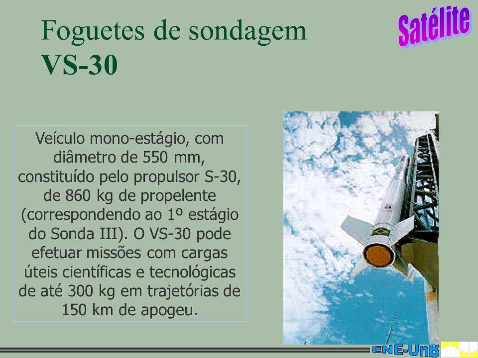 6 Foguetes de sondagem VS-30 Veículo mono-estágio, com diâmetro de 550 mm, constituído pelo propulsor S-30, de 860 kg de propelente (correspondendo ao