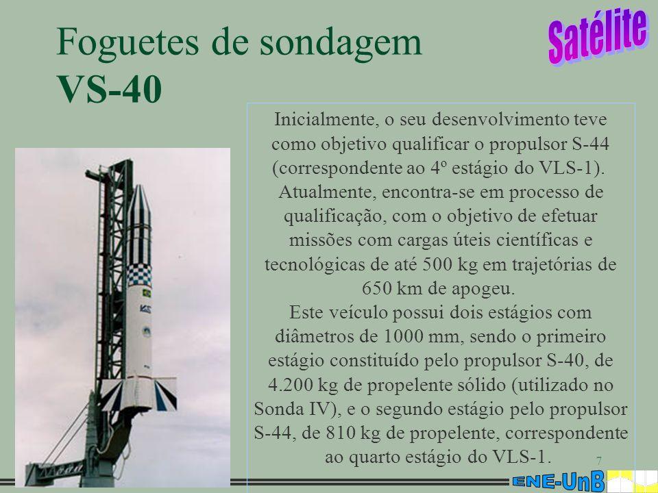 7 Foguetes de sondagem VS-40 Inicialmente, o seu desenvolvimento teve como objetivo qualificar o propulsor S-44 (correspondente ao 4º estágio do VLS-1