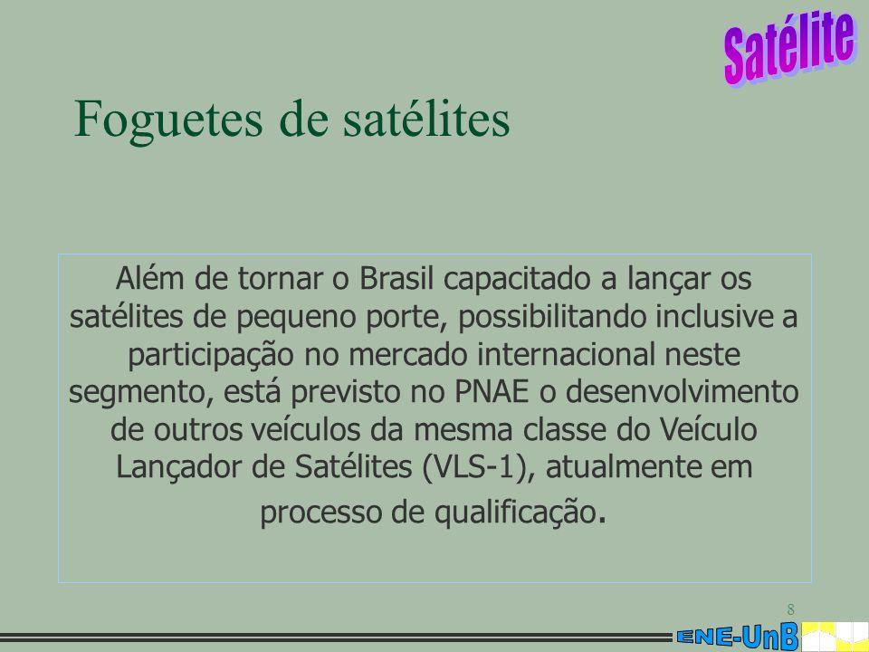 8 Foguetes de satélites Além de tornar o Brasil capacitado a lançar os satélites de pequeno porte, possibilitando inclusive a participação no mercado