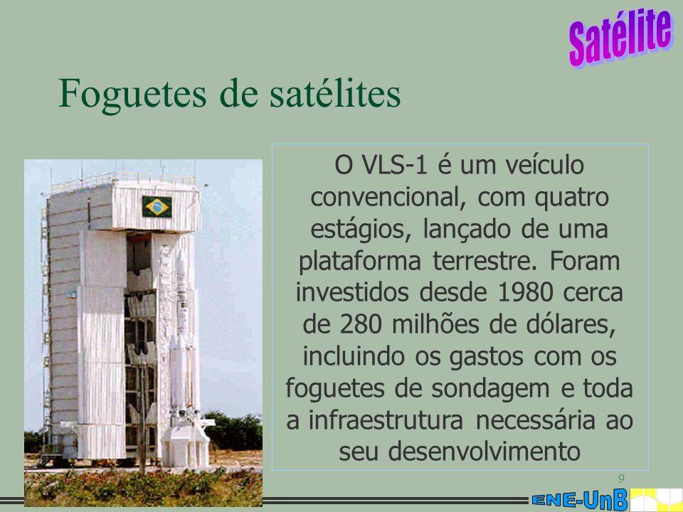 9 Foguetes de satélites O VLS-1 é um veículo convencional, com quatro estágios, lançado de uma plataforma terrestre. Foram investidos desde 1980 cerca
