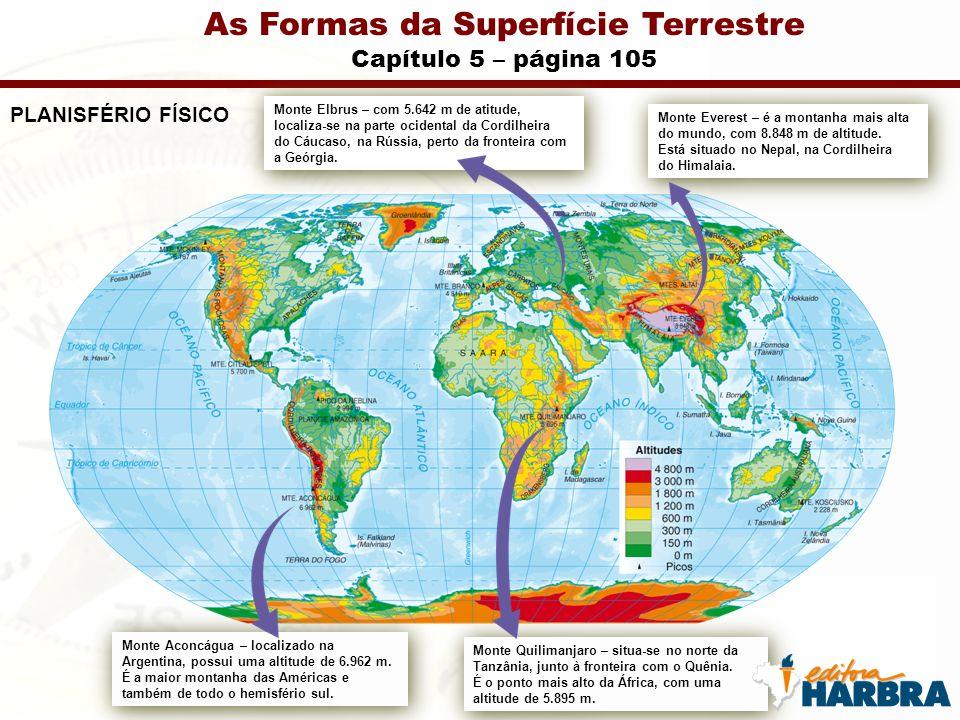 Para uso exclusivo de professores adotadores da As Formas da Superfície Terrestre Capítulo 5 – página 105 PLANISFÉRIO FÍSICO Monte Quilimanjaro – situ