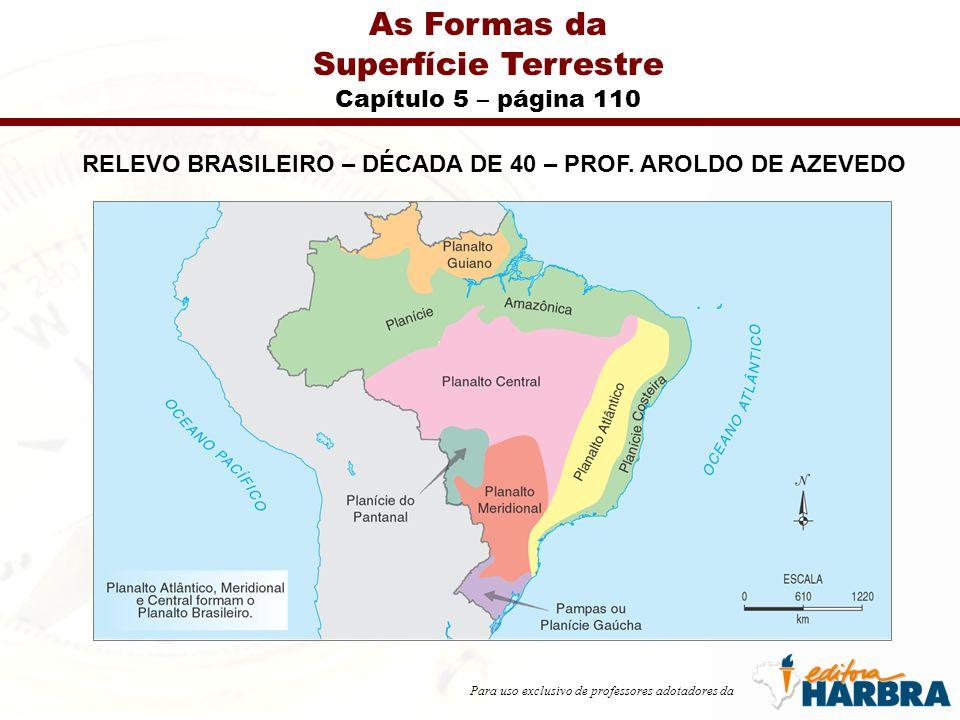 Para uso exclusivo de professores adotadores da As Formas da Superfície Terrestre Capítulo 5 – página 110 RELEVO BRASILEIRO – DÉCADA DE 40 – PROF. ARO