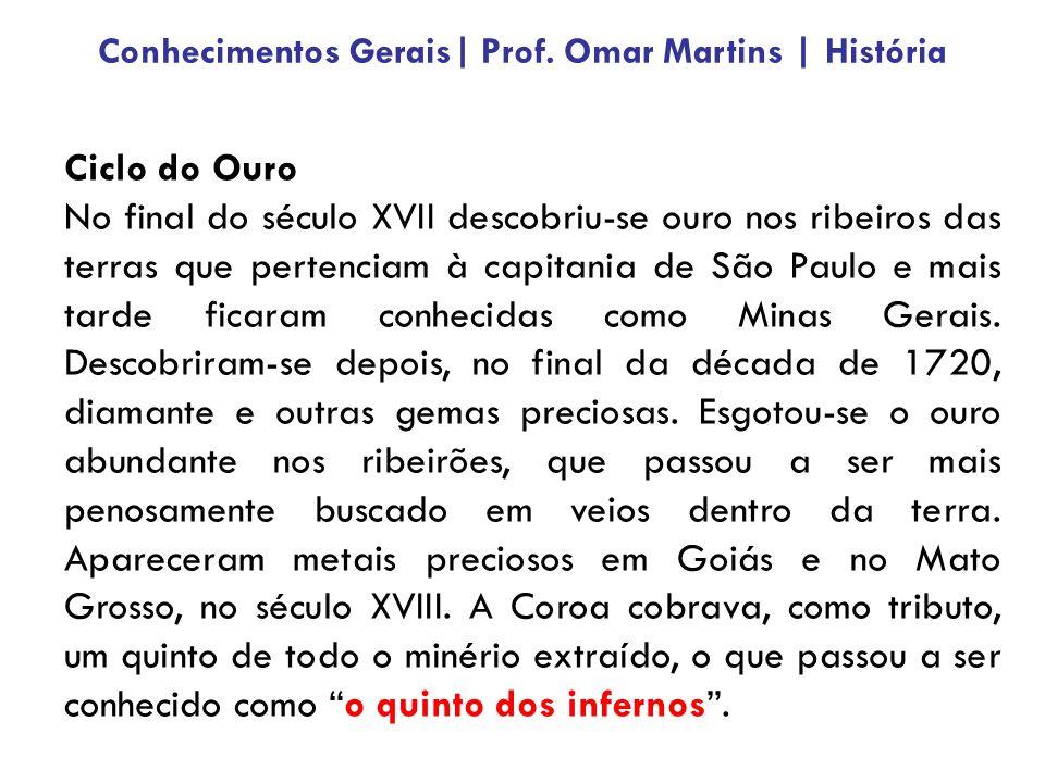 Ciclo do Ouro No final do século XVII descobriu-se ouro nos ribeiros das terras que pertenciam à capitania de São Paulo e mais tarde ficaram conhecidas como Minas Gerais.