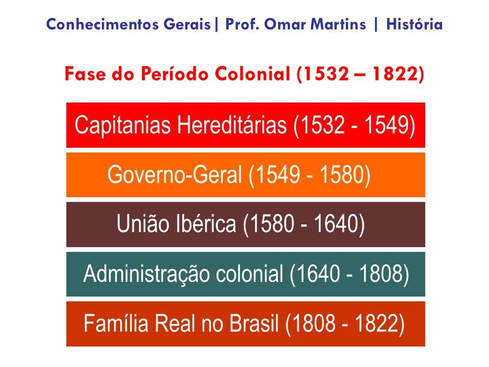 Fase do Período Colonial (1532 – 1822) Conhecimentos Gerais| Prof. Omar Martins | História
