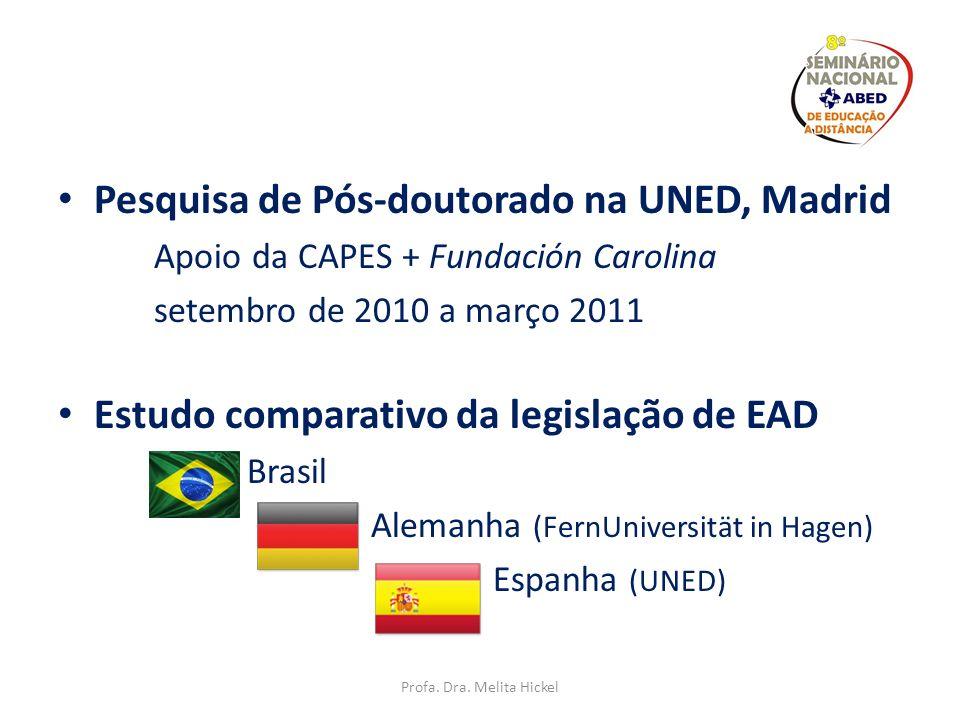 Educação a Distância no Brasil e na Espanha: Um olhar comparativo-reflexivo, a partir de suas controvérsias e peculiaridades Profa. Dra. Melita Hickel