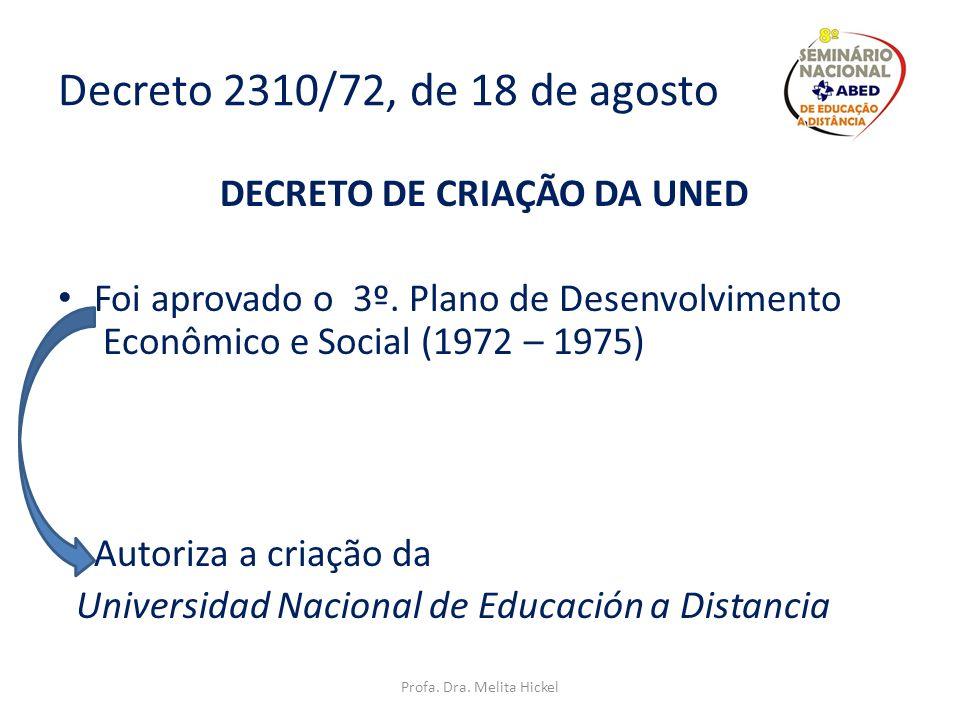 Decreto 1106/71, de 06 de maio Comissão => estudo acadêmico e financeiro UNILAD – Universidad Nacional Libre a Distancia Profa. Dra. Melita Hickel