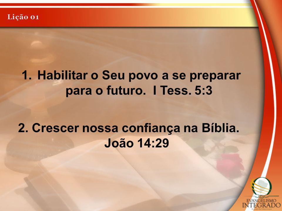 2. Crescer nossa confiança na Bíblia. João 14:29