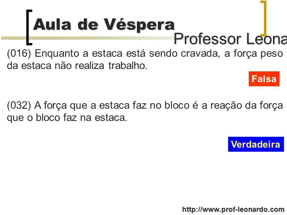 Professor Leonardo Aula de Véspera http://www.prof-leonardo.com (016) Enquanto a estaca está sendo cravada, a força peso da estaca não realiza trabalho.