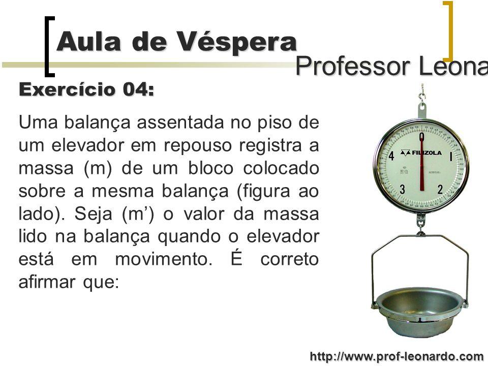 Professor Leonardo Aula de Véspera http://www.prof-leonardo.com Uma balança assentada no piso de um elevador em repouso registra a massa (m) de um bloco colocado sobre a mesma balança (figura ao lado).