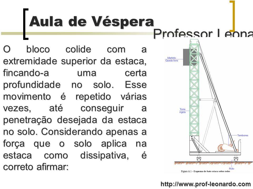 Professor Leonardo Aula de Véspera http://www.prof-leonardo.com O bloco colide com a extremidade superior da estaca, fincando-a uma certa profundidade no solo.