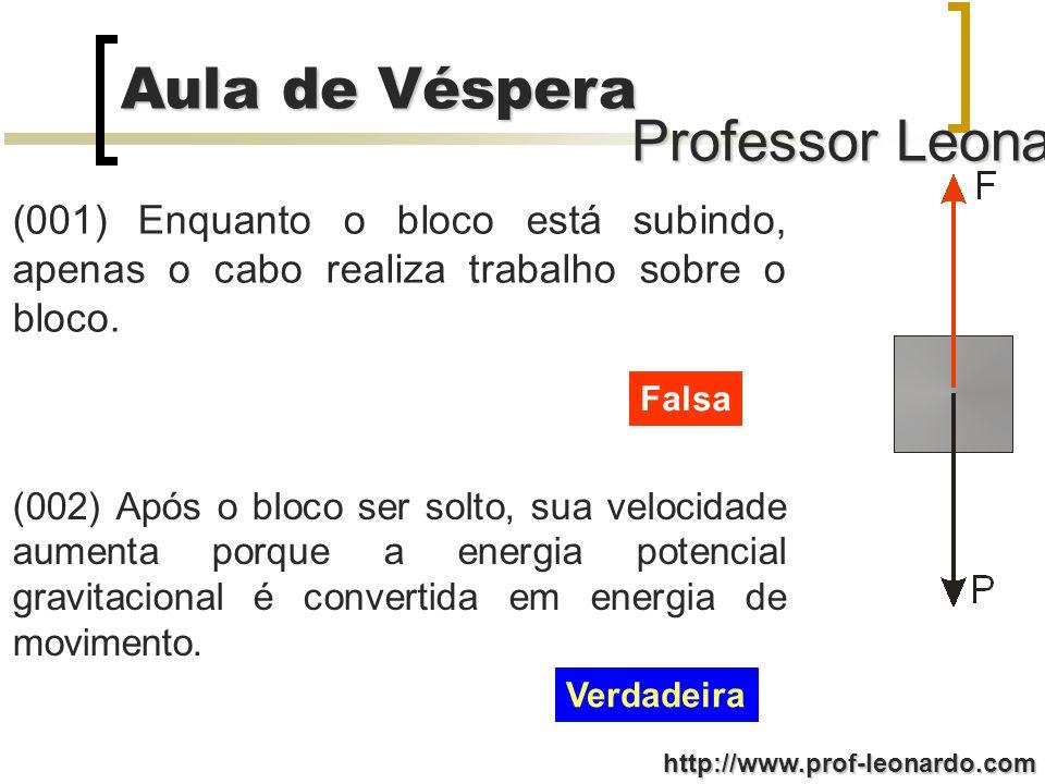 Professor Leonardo Aula de Véspera http://www.prof-leonardo.com (001) Enquanto o bloco está subindo, apenas o cabo realiza trabalho sobre o bloco.