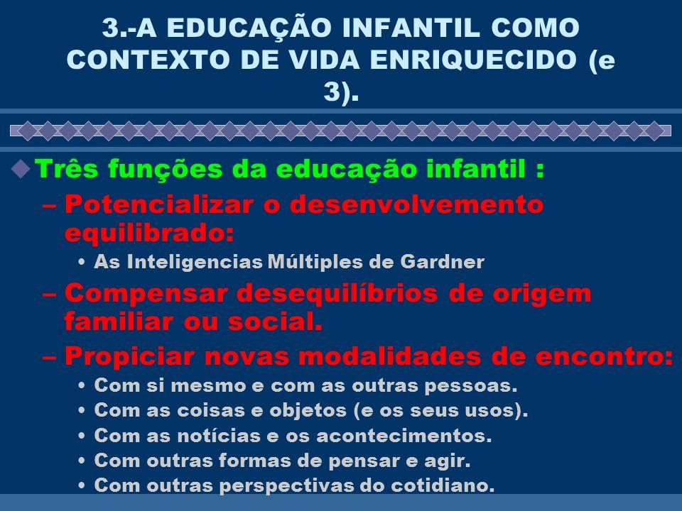 3.-A EDUCAÇÃO INFANTIL COMO CONTEXTO DE VIDA ENRIQUECIDO (e 3). Três funções da educação infantil : –Potencializar o desenvolvemento equilibrado: As I
