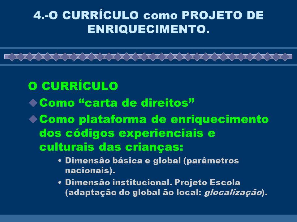 4.-O CURRÍCULO como PROJETO DE ENRIQUECIMENTO. O CURRÍCULO Como carta de direitos Como plataforma de enriquecimento dos códigos experienciais e cultur