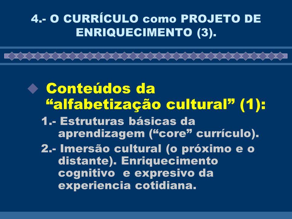 4.- O CURRÍCULO como PROJETO DE ENRIQUECIMENTO (3). Conteúdos da alfabetização cultural (1): 1.- Estruturas básicas da aprendizagem (core currículo).