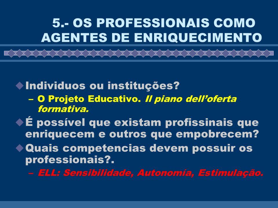 5.- OS PROFESSIONAIS COMO AGENTES DE ENRIQUECIMENTO Individuos ou instituções? –O Projeto Educativo. Il piano delloferta formativa. É possível que exi