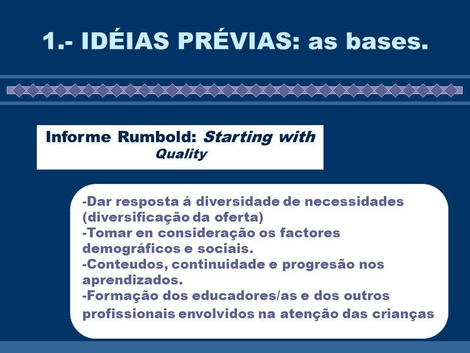 1.- IDÉIAS PRÉVIAS: as bases. Informe Rumbold: Starting with Quality -Dar resposta á diversidade de necessidades (diversificação da oferta) -Tomar en