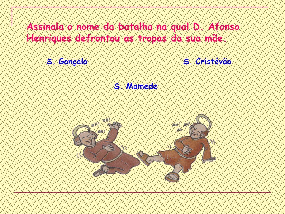 Assinala o nome da batalha na qual D.Afonso Henriques defrontou as tropas da sua mãe.