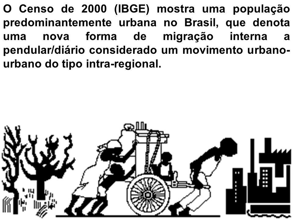 O Censo de 2000 (IBGE) mostra uma população predominantemente urbana no Brasil, que denota uma nova forma de migração interna a pendular/diário consid