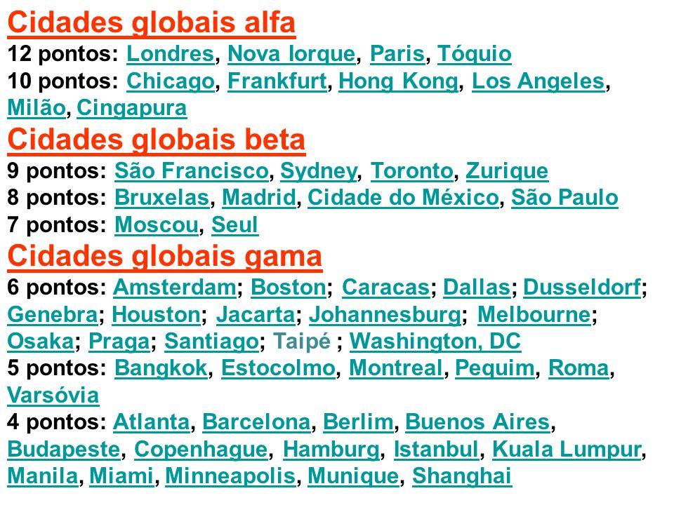 Cidades globais alfa 12 pontos: Londres, Nova Iorque, Paris, TóquioLondresNova IorqueParisTóquio 10 pontos: Chicago, Frankfurt, Hong Kong, Los Angeles