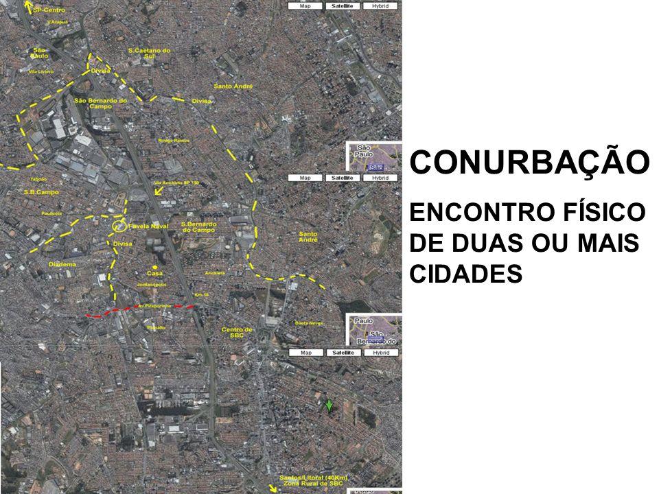 CONURBAÇÃO ENCONTRO FÍSICO DE DUAS OU MAIS CIDADES