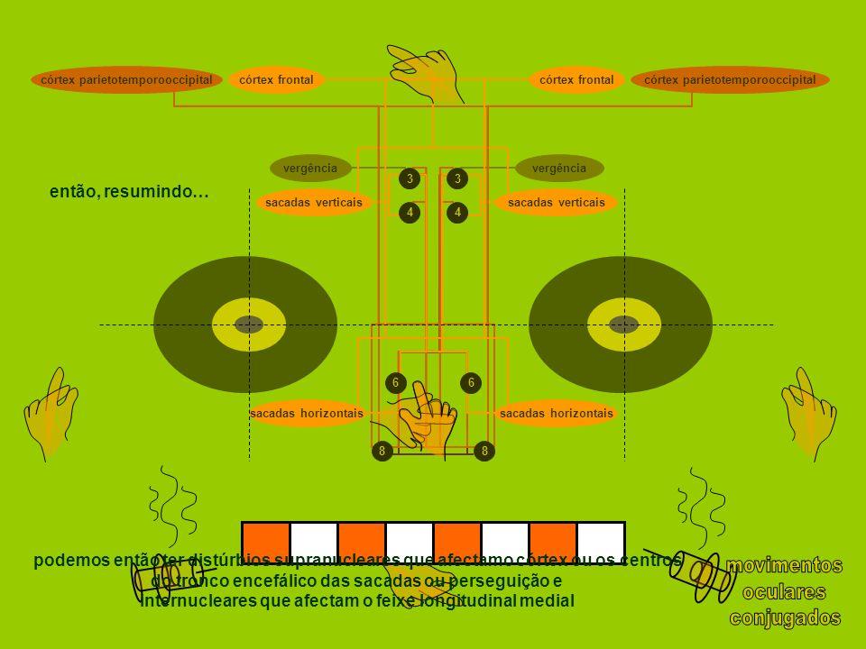 sacadas horizontais 88 66 44 33 sacadas verticais córtex parietotemporooccipitalcórtex frontal córtex parietotemporooccipital vergência então, resumin