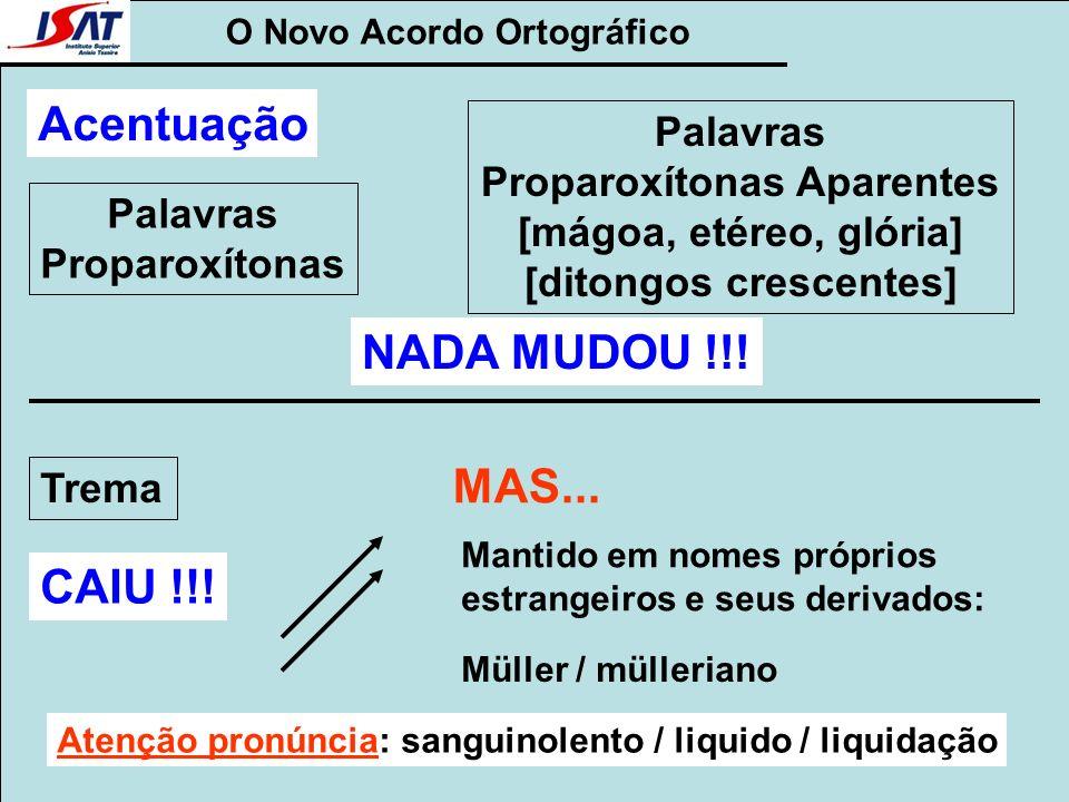 O Novo Acordo Ortográfico Palavras Proparoxítonas Acentuação NADA MUDOU !!! Trema CAIU !!! MAS... Mantido em nomes próprios estrangeiros e seus deriva