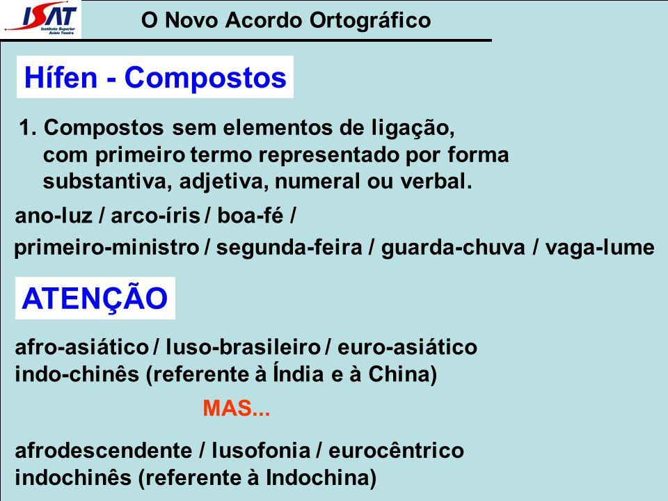 O Novo Acordo Ortográfico Hífen - Compostos 1.Compostos sem elementos de ligação, com primeiro termo representado por forma substantiva, adjetiva, num
