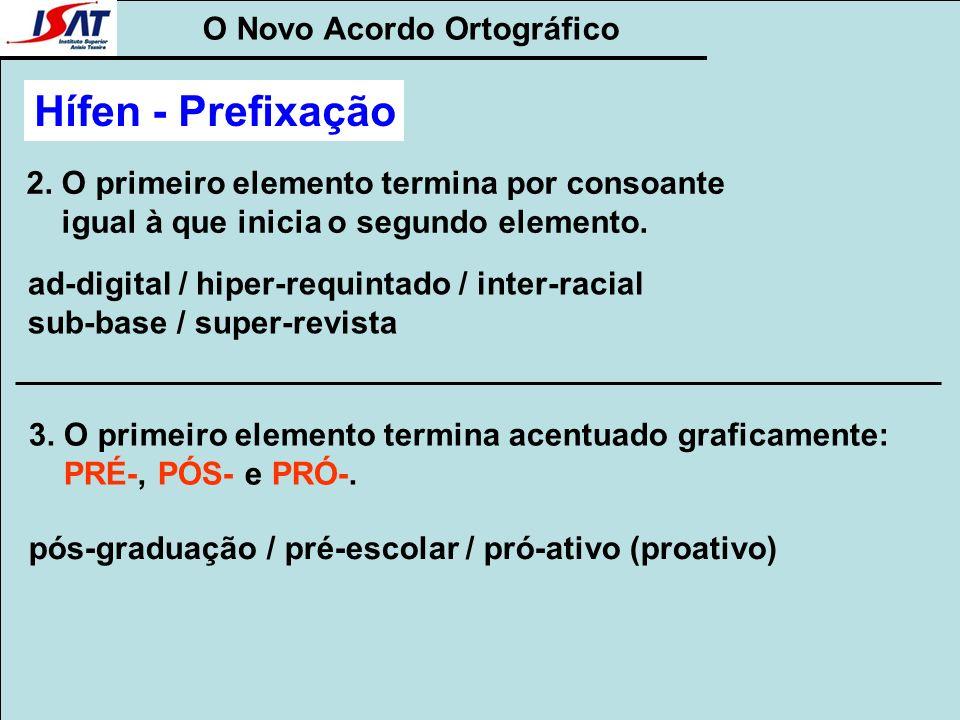 O Novo Acordo Ortográfico Hífen - Prefixação 2. O primeiro elemento termina por consoante igual à que inicia o segundo elemento. ad-digital / hiper-re