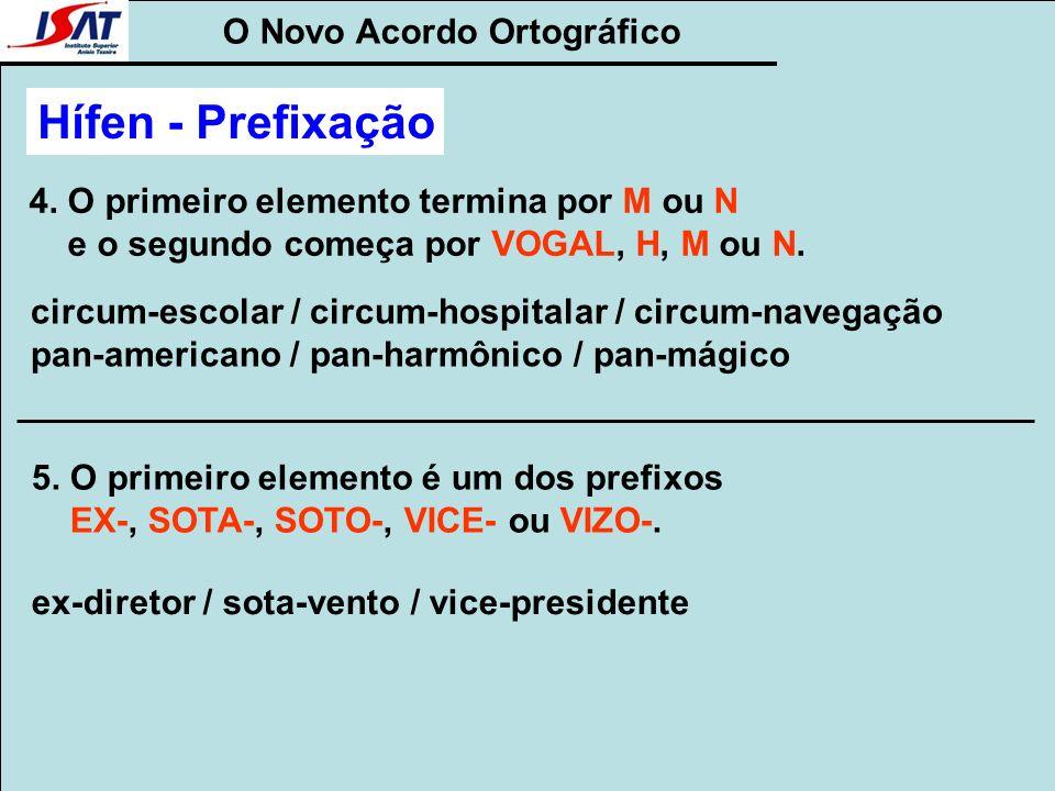 O Novo Acordo Ortográfico Hífen - Prefixação 4. O primeiro elemento termina por M ou N e o segundo começa por VOGAL, H, M ou N. circum-escolar / circu