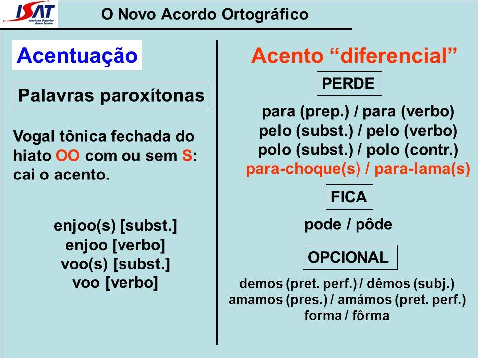 O Novo Acordo Ortográfico Palavras paroxítonas Acentuação Vogal tônica fechada do hiato OO com ou sem S: cai o acento. enjoo(s) [subst.] enjoo [verbo]