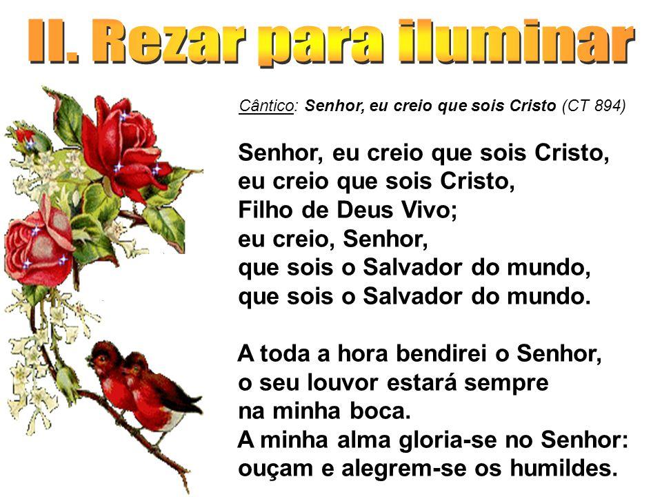 Cântico: Senhor, eu creio que sois Cristo (CT 894) Senhor, eu creio que sois Cristo, eu creio que sois Cristo, Filho de Deus Vivo; eu creio, Senhor, q