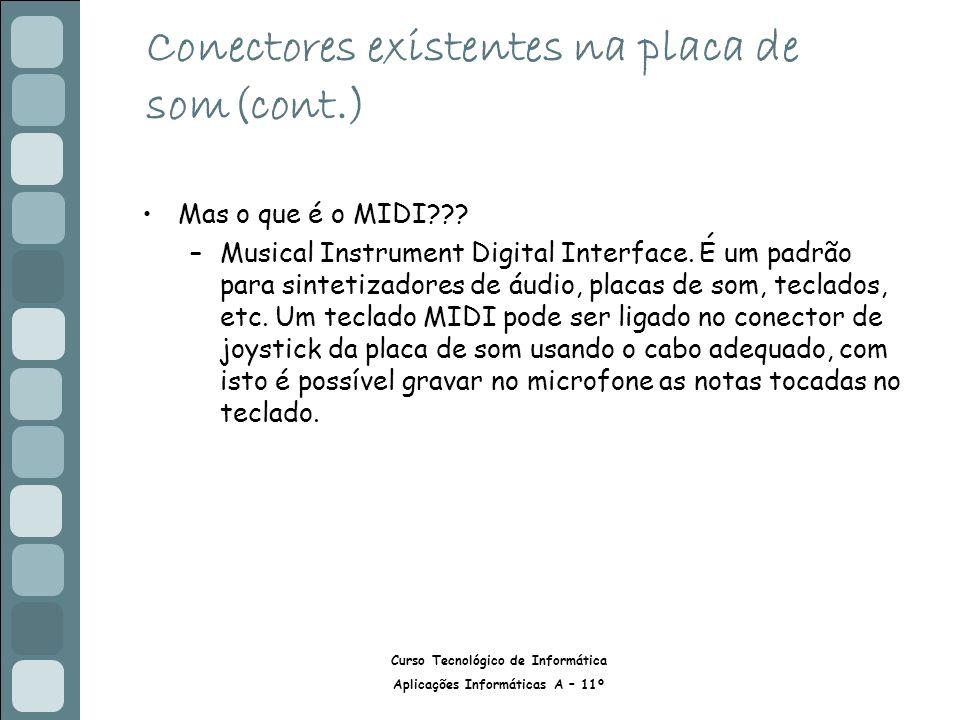 Curso Tecnológico de Informática Aplicações Informáticas A – 11º Conectores existentes na placa de som(cont.) Mas o que é o MIDI??? –Musical Instrumen