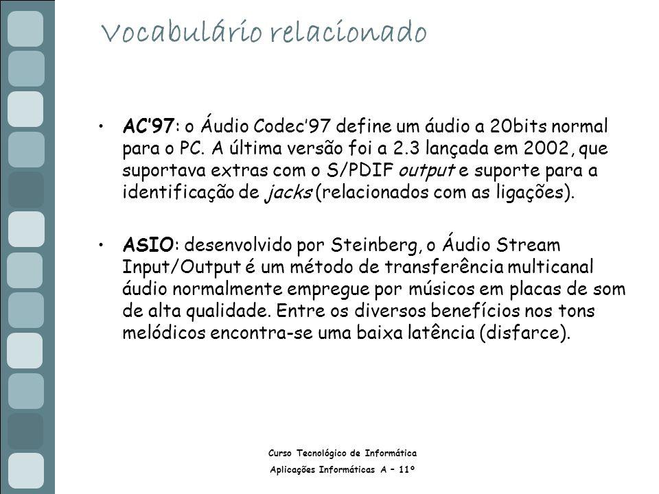 Curso Tecnológico de Informática Aplicações Informáticas A – 11º Vocabulário relacionado AC97: o Áudio Codec97 define um áudio a 20bits normal para o PC.