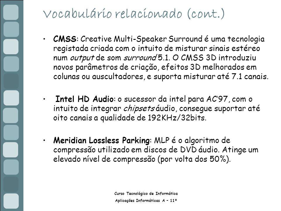 Curso Tecnológico de Informática Aplicações Informáticas A – 11º Vocabulário relacionado (cont.) CMSS: Creative Multi-Speaker Surround é uma tecnologia registada criada com o intuito de misturar sinais estéreo num output de som surround 5.1.
